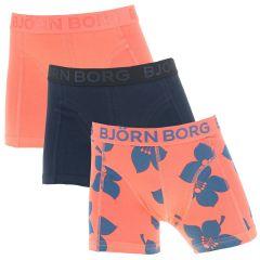 jongens 3-pack graphic floral oranje & zwart