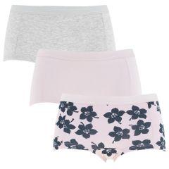 dames mini shorts 3-pack graphic floral mia roze & grijs