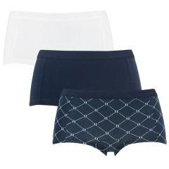 dames mini shorts 3-pack tennis net mia blauw & wit