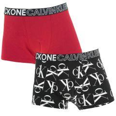 jongens ck one 2-pack all over logo trunks zwart & rood