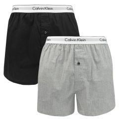 2-pack woven slim fit boxers zwart & grijs II