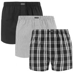 3-pack woven classic fit stripe / check / zwart