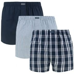 3-pack woven classic fit stripe / check / blauw