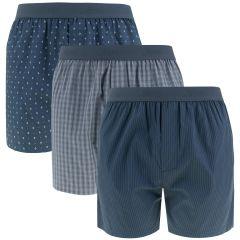 woven boxers 3-pack blauw & grijs