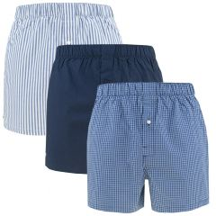 3-pack wijde boxers streep & effen blauw