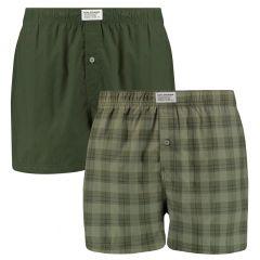 block stripe woven boxers 2-pack groen