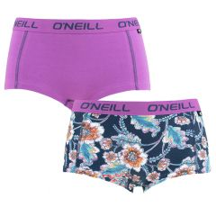 dames shorty 2-pack multi flower paars & blauw