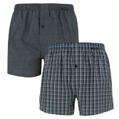 woven boxers 2-pack ruit & grijs
