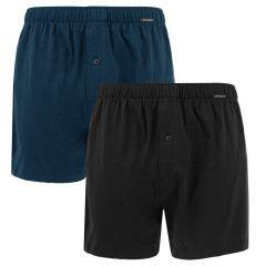 jersey 2-pack wijde boxers zwart & blauw