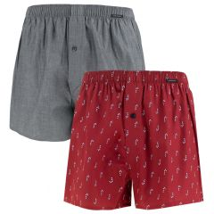 woven boxers 2-pack print rood & grijs