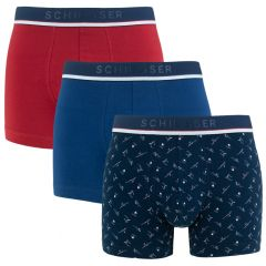 3-pack print shorts blauw & rood