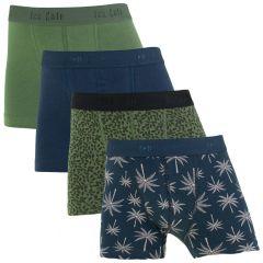 jongens palm 4-pack shorts blauw & groen