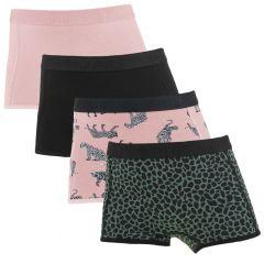 meisjes tiger 4-pack shorts roze & zwart