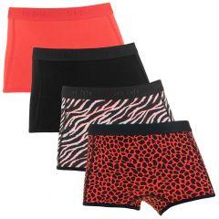 meisjes zebra 4-pack shorts rood & zwart
